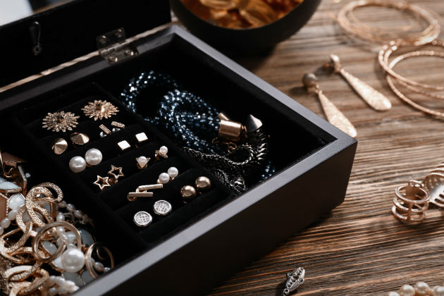 A jewellery box filled with expensive pieces