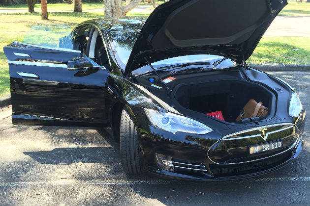 Silver Tesla Model S front boot