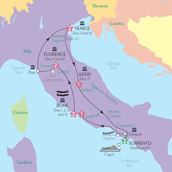Best of Italy map